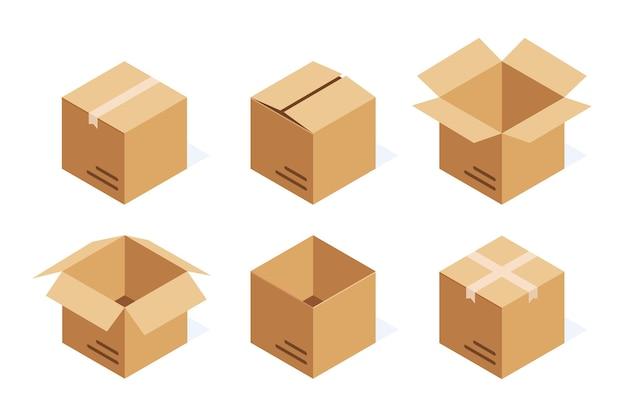 아이소 메트릭 골 판지 상자 흰색 절연의 집합입니다.