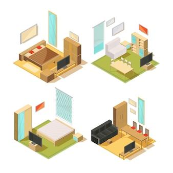 Набор изометрических композиций интерьера гостиной комнаты с диванами, шкафами, зеркалами, стульями, столами и телевизором, векторная иллюстрация