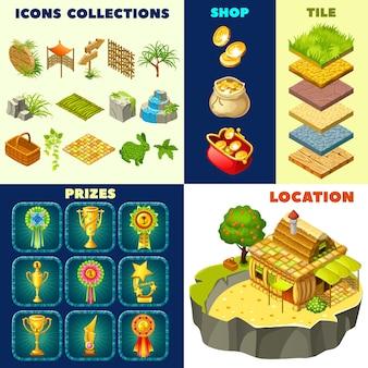 Набор изометрических коттеджей и игровых элементов.