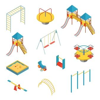 Набор изометрических элементов для детской площадки на белом фоне, векторные иллюстрации