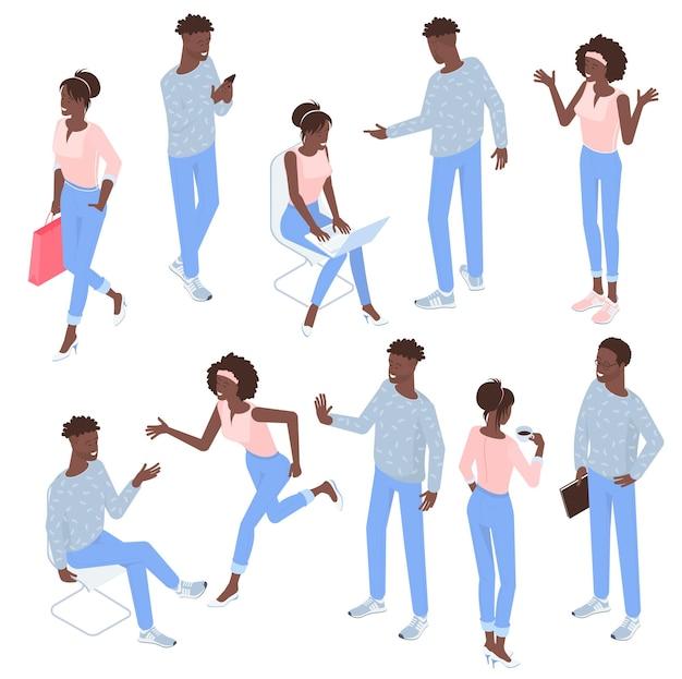 Набор изометрических плоский дизайн черный мужчина и женщина позы персонажей и деятельности.