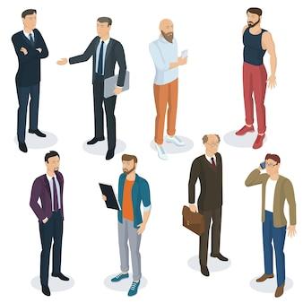 Набор изометрических плоский дизайн людей разных персонажей, стилей и профессий. изометрические действующий мужчина в полный рост, коллекция разнообразных действующих позы.