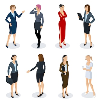 アイソメトリックフラットデザインの人々のさまざまなキャラクター、スタイル、職業のセット。スラックスフルレングスの多様な演技ポーズコレクションを身に着けている等尺性演技女性。