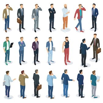 Набор изометрической плоский дизайн стоящих мужчин разных персонажей, стилей и профессий. вид спереди и сзади, разные персонажи, профессии, позы и стили. макет набора элементов.