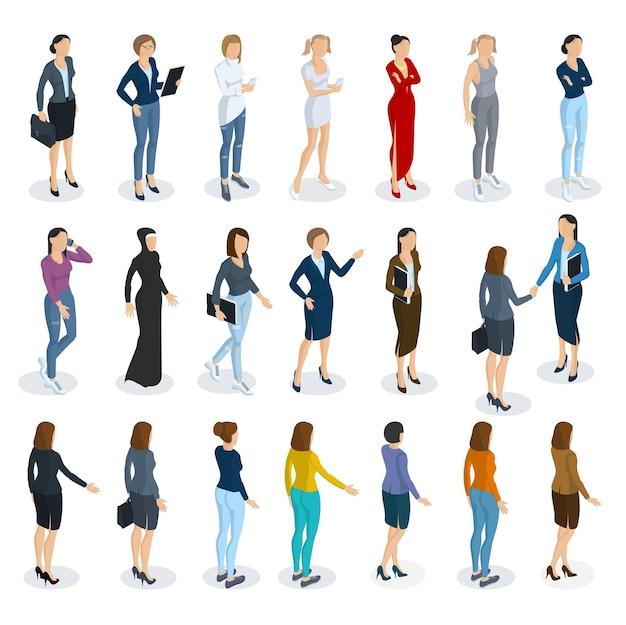 女性のさまざまなキャラクター、スタイル、職業に立っているアイソメトリックフラットデザインのセット。正面図と背面図、さまざまなキャラクター、職業、ポーズ、スタイル。要素セットのモックアップ。