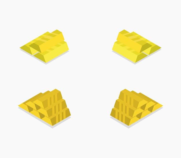 Набор изометрических золотых слитков