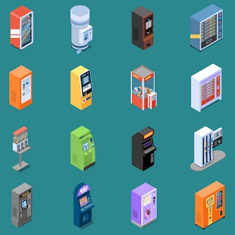 さまざまな自動販売機分離ベクトル図と等尺性のアイコンのセット