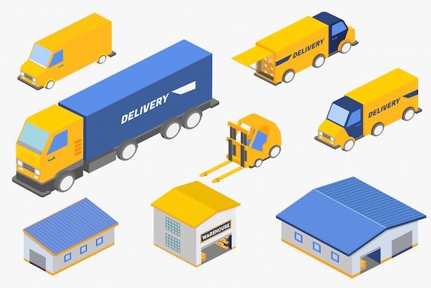 Набор изометрической иллюстрации различных служб доставки транспортных средств и складских зданий