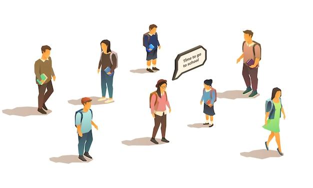 Набор изометрических изолированных студентов и школьников