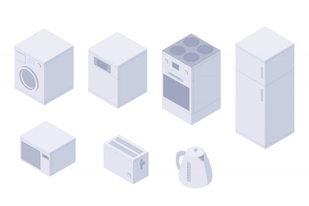 Набор изометрической кухонной бытовой техники, посуды. стиральная машина, посудомоечная машина, духовка, плита, холодильник, микроволновая печь, тостер и чайник. предметы домашнего обихода изолированные