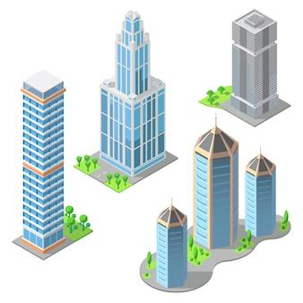 Набор изометрических современных зданий в мультяшном стиле. городские небоскребы, городской экстерьер