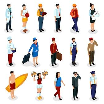 고립 된 액세서리와 유니폼을 입고 다양한 직업의 아이소 메트릭 사람들의 집합
