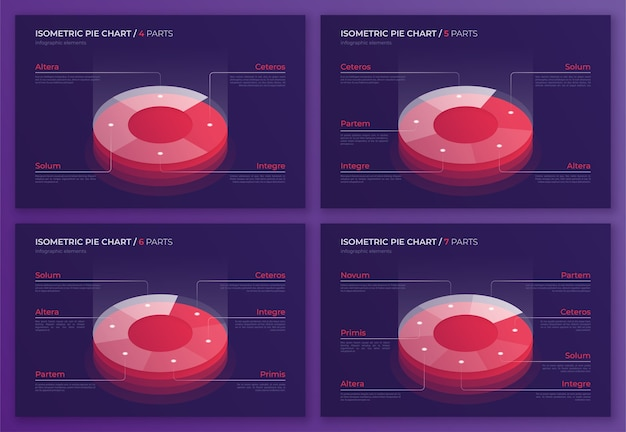 아이소 메트릭 원형 차트 디자인, 인포 그래픽, 프레젠테이션, 보고서, 시각화를 만들기위한 최신 템플릿 세트. 글로벌 견본.
