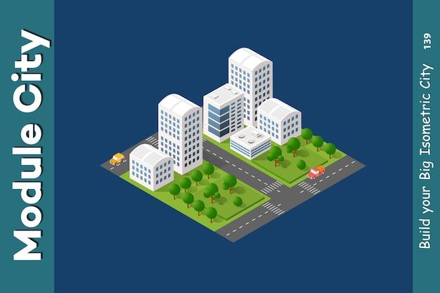 아이소 메트릭 고층 빌딩 거리의 세트