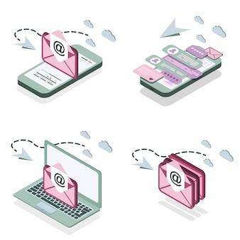 이메일 알림 및 메시지와 함께 아이소 메트릭 스마트 폰 및 노트북의 집합입니다.