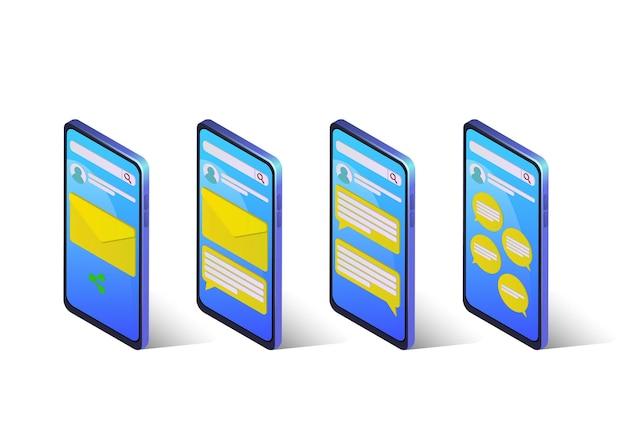 電子メールまたはチャットメッセージングとアイソメトリックスマートフォンのセット