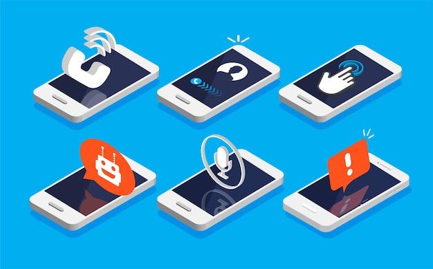 Набор изометрических смартфонов со значком уведомлений