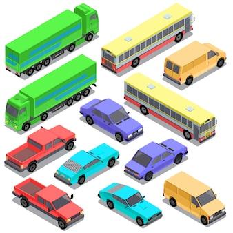 Set of isometric urban transportation, cars