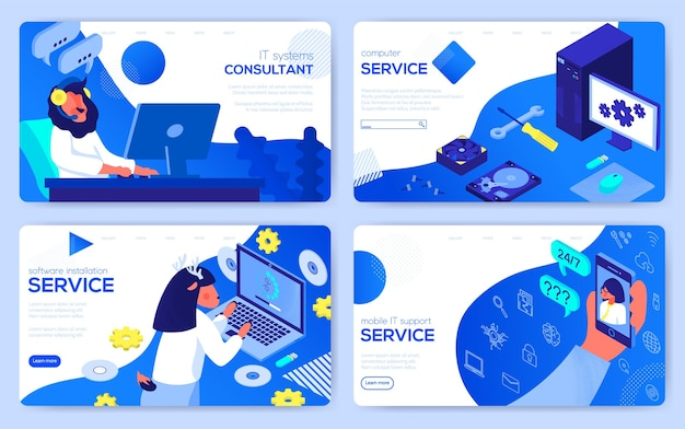 Itシステムコンサルタント、コンピューター修理サービス、プリンターおよびコピー機のメンテナンスのセット。