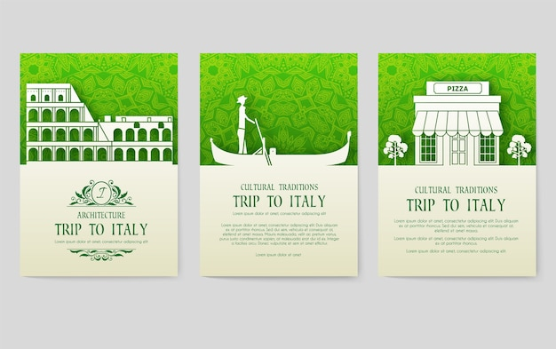 Набор плакатов страны италии, изолированные на серый