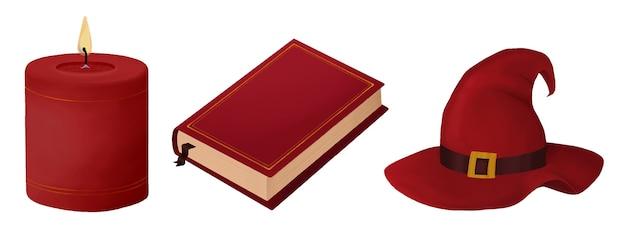 Набор предметов для хэллоуина свеча книга шляпа