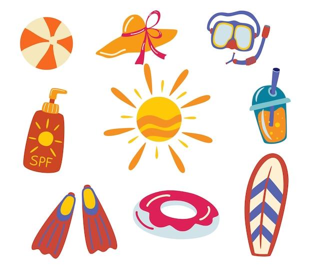 해변에 대 한 항목 집합입니다. 여름 휴가를 위한 액세서리. 풍선 서클, 스쿠버 다이빙 마스크, 지느러미, 태양, 자외선 차단제, 칵테일, 모자, 서핑 보드. 평면 벡터 일러스트 레이 션.