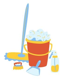 Набор предметов для влажной уборки. пластиковое ведро для воды, бутылка химического моющего средства. векторная иллюстрация генеральной уборки. чистящее средство.