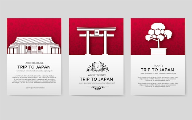 灰色で隔離の日本の国のポスターのセット