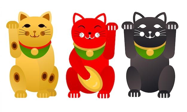 日本の縁起の良い猫または招き猫猫のセット