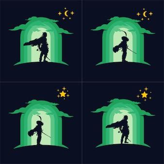 日本忍者刀ロゴのセット
