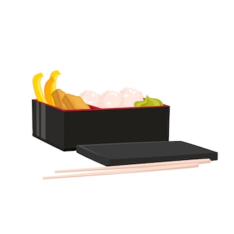 Набор японской коробки бенто на белом. традиционная азиатская еда.