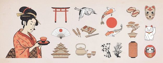 Набор элементов японского дизайна. иллюстрация женщины гейши.