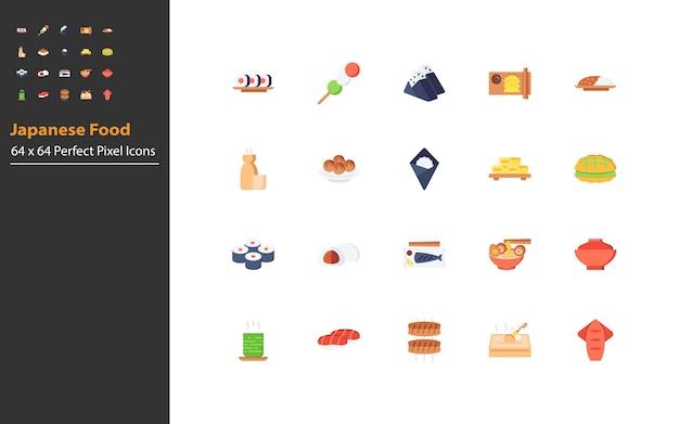 일본 음식 얇은 라인 아이콘 세트, 전통적인 아시아 음식