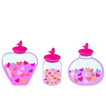 バレンタインデーのためのハートのロマンチックなイラストとハートのボトルと蓋付きの瓶のセット