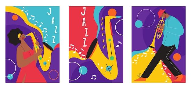 ジャズフェスティバルのポスター構成のセットには、サックストロンボーンクラリネットバイオリンコントラバスピアノトランペットバスドラムとバンジョーギターが含まれていました