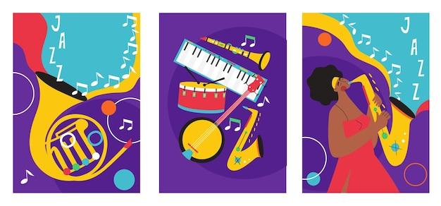 В набор постеров джазового фестиваля входят композиции, включающие саксофон, тромбон, кларнет, скрипку, контрабас, фортепиано, трубу, бас-барабан, и гитару банджо.
