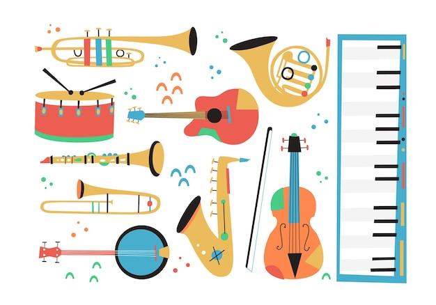 색소폰 트롬본 클라리넷 바이올린 더블 베이스 피아노 트럼펫 베이스 드럼 및 밴조 기타가 포함된 재즈 악기 작곡 세트