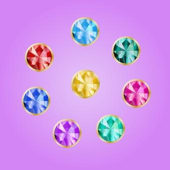 Набор драгоценных камней в золотой оправе. коллекция ярких камней круглой формы в оправе. векторные драгоценные камни на розовом фоне