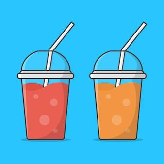 テイクアウトプラスチックカップのジュースまたはミルクセーキのセット