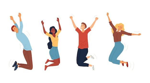 ジャンプ幸せな人々のセット。一緒にジャンプする若い面白い十代の若者たちの男の子と女の子。喜びのライフスタイルと、勉強、ビジネス、または個人的な生活における幸せと成功の象徴。漫画フラットベクトルイラスト。