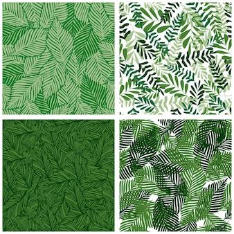 ジャングルの葉の熱帯雨林のシームレスなパターンのセットです。エキゾチックな植物のプリント。熱帯のパターン、ヤシの葉のシームレスなベクトル花の背景