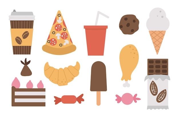 ジャンクフードと飲み物のセットです。アイスクリーム、ピザ、甘い製品、チョコレート、キャンディー、ペストリー