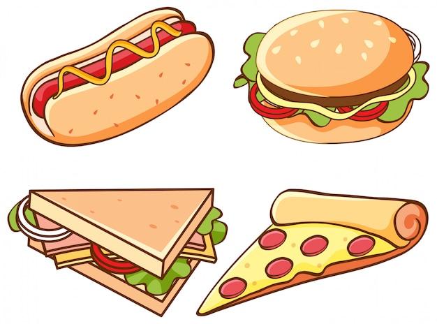 Набор нездоровой пищи на белом фоне