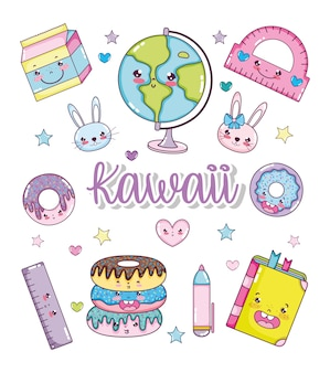 Set of kawaii cartoons