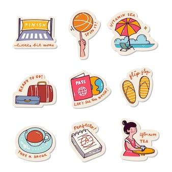Набор наклеек kawaii doodle set fashion patch design collection