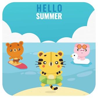 かわいい夏のかわいい動物虎クマ豚イラストのセット
