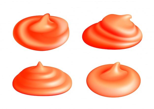 分離されたケチャップスプラッシュまたはトマトソースの塊のセット