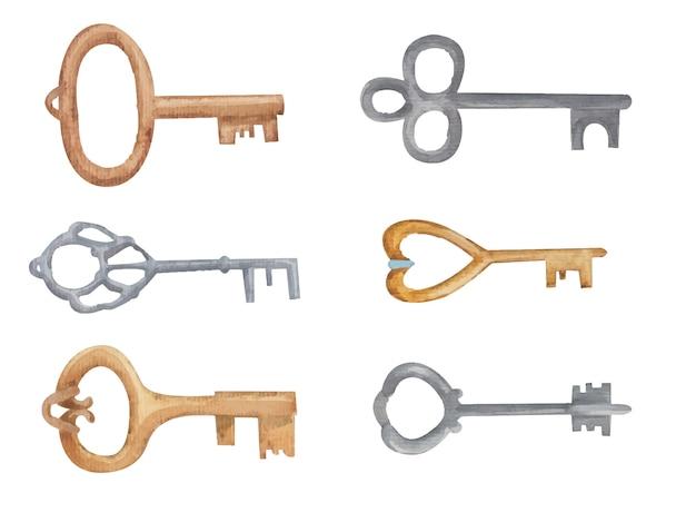 Набор ключей акварельной иллюстрации на белом фоне
