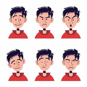 子供のキャラクターの顔のイラストのセット