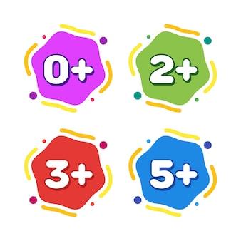Набор детских возрастных ограничений. цветные векторные иллюстрации шаржа